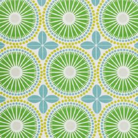 Juline - Green - Grass green, sky blue and apple green making up a circular stylised flowers, dots and simple leaves on 100% cotton fabric