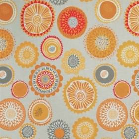 Siri - Yellow - Circles and stylised flowers printed in a random design on cotton and linen blend fabric in rich yellow and grey shades