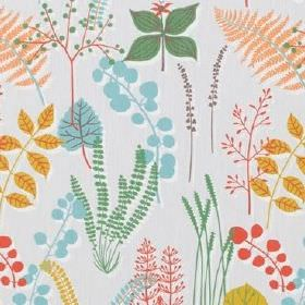 Botanik - Light Blue - Various different leaf species printed on pale grey 100% cotton fabric in blue, dusky green, salmon pink, gold and co