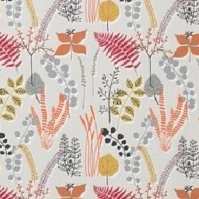 Botanik - Raspberry - Various different shades of salmon pink, grey and gold making up a 100% cotton fabric printed with a variety of leaves