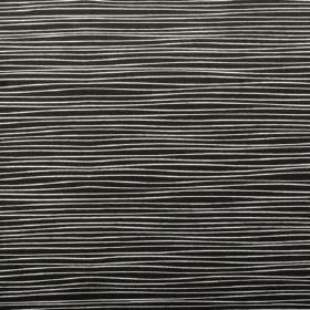 Line - Black - Uneven, thin horizontal lines printed in a very pale shade of grey on a jet black 100% cotton fabric background