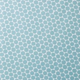 PomPom - Light Blue - Rows of sky blue coloured circles printed on an icy blue cotton and linen blend fabric background