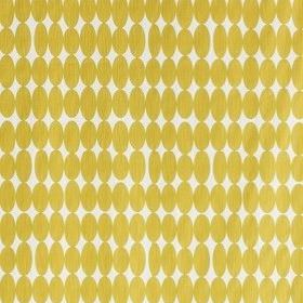 Vilma - Mustard - 100% cotton fabric featuring a pattern of rows of unevenly sized ovals in gold and white