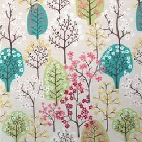 Haga - Green - Modern image of a green forest on sandy fabric from IKEA