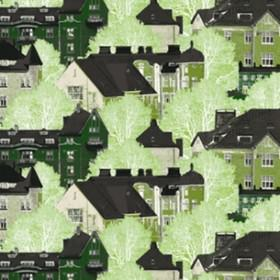 Kattojen Ylla - Green - Night vision green image of trees and houses on black fabric from IKEA