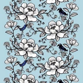 Lovebirds - Blue - Classic detailed floral and foliage pattern on blue fabric