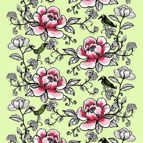 Lovebirds - Green Pink - Classic detailed floral and foliage pattern in pink on green fabric