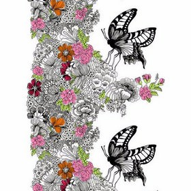 Mon Amour - Multi - White IKEA fabric with detailed flower and butterfly print
