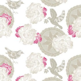 Sophia - Grey - White fabric with faint bird and red floral impressions from IKEA