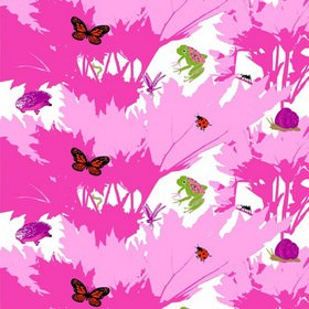 Raparperin Alia - Pink - Modern pink IKEA fabric with printed trees and butterflies