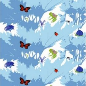 Raparperin Alia - Blue - Modern blue IKEA fabric with printed trees and butterflies