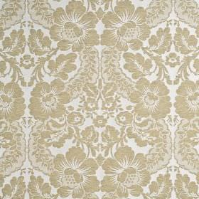 Couture Damask - Champagne - Dove grey coloured flowers and swirling garlands printed repeatedly on white linen, nylon and polyester blend f