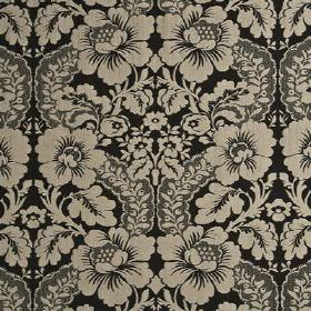 Couture Damask - Granite - Elegant bold linen, nylon and polyester blend fabric featuring a repeated design of beige flowers and swirling ga