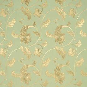 Caprice - Duck Egg - Light green linen fabric with decorative gold floral design
