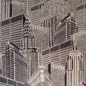 Skyscape Day - Black & White - 100% cotton fabric covered with a large, detailed skyscraper print in brilliant white and an extremely dark s