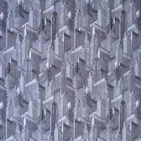 Skyscape Dawn - Black, Charcoal & White - A pattern of buildings and skyscrapers covering 100% cotton fabric in various dark shades of grey