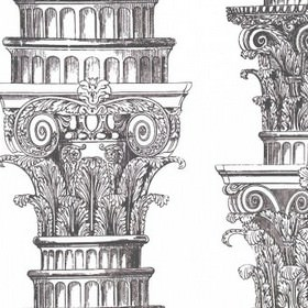 Fluted Capitals - Black & White - Detailed, ornately carved columns and pillars printed vertically in shades of greyon fabric made from whi