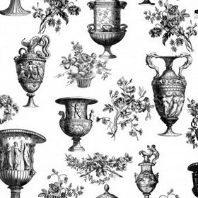 Parks and Gardens - Black and White - Fabric made from 100% cotton with a realistic shaded vase, urn and flower print pattern in dark shades of