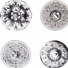 Ceiling Rose - Black and White - Beautifully patterned circular plates, platters, shields and flowers on 100% cotton fabric in white and dark