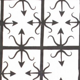 Bow & Arrow - Black & White - Bow and arrow style designs with a straight grid, printed in very dark grey on a white 100% cotton fabric back