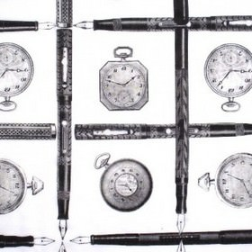 Pens and Watches - Black and White - Pens and pocket watches printed in dark shades of grey in a neatly arranged design on 100% cotton fabric in