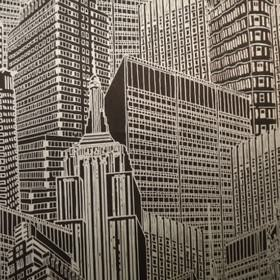 Skyscape Night - Pewter - Pewter and black coloured 100% cotton fabric covered with a busy, detailed skyscraper design