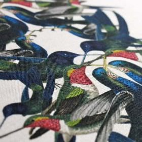 Hummingbird - Stripe - Hummingbirds printed in red, green and white, and dark shades of green and blue, on linen and nylon blend fabric