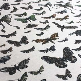 Moths - Original - Fabric blended from linen and nylon in black and white, featuring various large and small realistic butterfly designs