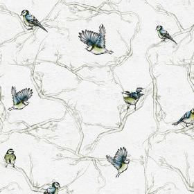 Cyanistes - Grey - White linen and nylon blend fabric with light grey branches, and garden blue tit birds in light blue and green shades