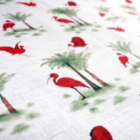 Ibis-Toile-De-Jouy - Red-Green - Linen and nylon blend fabric made in very pale grey-white, printed with green and brown trees, and bright r