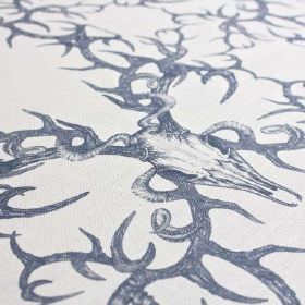 Winters-Bone - Ink - Animal skulls with thorny, swirling branches, printed in navy blue on fabric made from linen and nylon in white