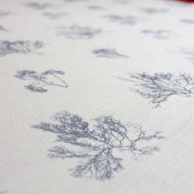 Ceramium - Ink - Small, delicate vein-like tree designs printed on linen and nylon blend fabric, made in navy blue and white
