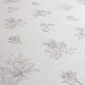 Ceramium - Dust - Fabric made from linen and nylon in white and very pale grey, featuring a pattern of delicate, vein-like tree branches