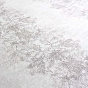 Ceramium-Stripe - Dust - Delicate, vein-like tree branch patterns arranged in rows over linen and nylon blend fabric, made in 2 light grey s