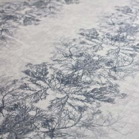 Ceramium-Stripe - Ink - Navy blue and pale grey linen and nylon blend fabric with a pattern of rows of delicate, vein-like tree branch patte