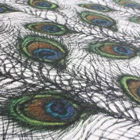 Pavo - Blue-Green - White fabric made from linen and nylon, printed with elegant peacock feathers in dark grey, blue, green and brown