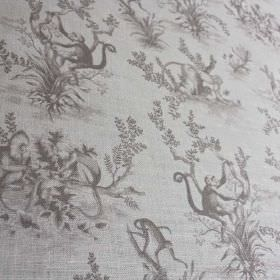 Cymepaye-Toile-De-Jouy - Dust - Shaded iron grey coloured monkey and tree designs printed on linen and nylon blend fabric in a very pale sha
