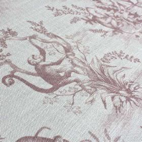 Cymepaye-Toile-De-Jouy - Rose - Very pale grey linen and nylon blend fabric featuring shaded designs of monkeys and trees in a light purple
