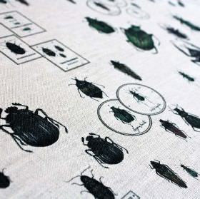 Entomologie - Original - Fabric made from pale grey linen and nylon, featuring black circles, rectangles and various beetle designs