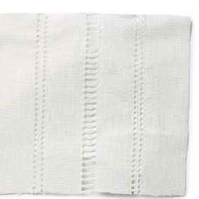 Ladder Stitch Rows - White - Plain white linen with a ladder stitch and row decoration