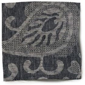 Large Paisley Linen - Black And Natural - Black linen with natural paisley design