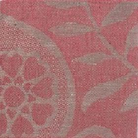 Large Paisley Linen - Coral And Natural - Coral red linen with natural paisley design