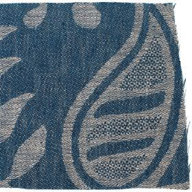 Large Paisley Linen - Prussian Blue And Natural - Prussian blue linen with natural paisley design