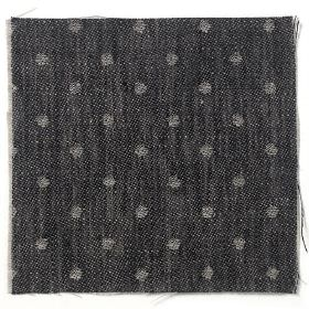 Spot Linen - Black And Natural - black linen with natural coloured dots dots