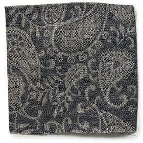 Small Paisley Linen - Black & Natural - Black linen with small paisley decoration