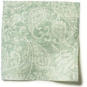 Small Paisley Linen - Sea Green - Sea green linen with small paisley decoration