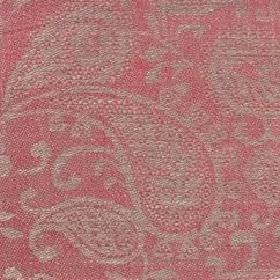 Small Paisley Linen - Coral Pink and#38; Natural - Coral pink red linen with small paisley decoration
