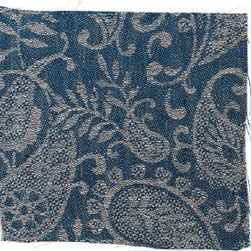 Small Paisley Linen - Prussian Blue and#38; Natural - Prussian blue linen with small paisley decoration