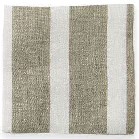 Wide Stripe Linen - Natural - Wide striped natural brown and white linen fabric