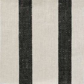 Wide Stripe Linen - Black and#38; Natural - Wide striped black and natural linen fabric